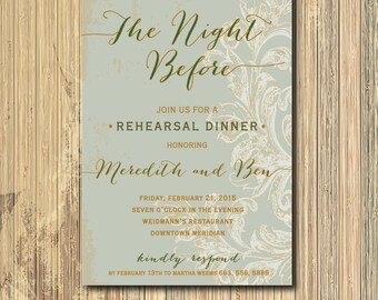 Rehearsal Dinner Invitation printable/Digital/night before, gold rehearsal dinner, vine, watercolor, diy/Wording & Colors can be changed