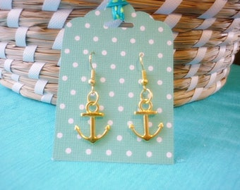 Gold Anchor Earrings,Nautical Earrings