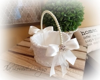 Flower Girl Basket, Ivory Lace Flower Girl Basket, Flower Girl Basket, Satin Flower Girl Basket
