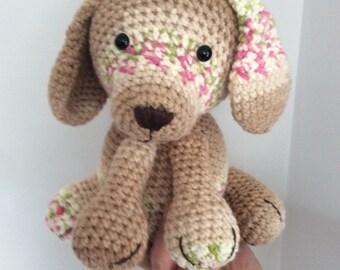 cute cuddly handmade crochet puppy dog toy