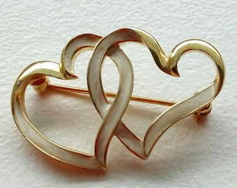 Vintage Signed D'ORLAN Double Heart Gold tone and Cream Enamel Brooch