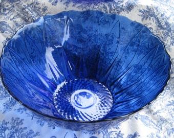 Avon Royal Sapphire Cobalt Blue Serving Bowl, Leaf/Feather Design