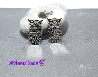 Set of 2 charms / pendants / charms round pattern owls watermark/stamp REF:2 stainless steel / 223