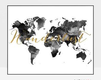 Wanderlust map, World map poster, Large World Map, World Map wall art, Travel map, black and white map, Travel gift, ArtPrintsVicky