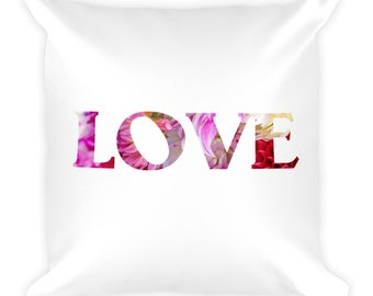 Love Pillow With Word, Saying, Romantic Hearts, Beautiful Colorful Flower Petals, Unique For Couch, Bed, Toss Throw Cushion, Washable