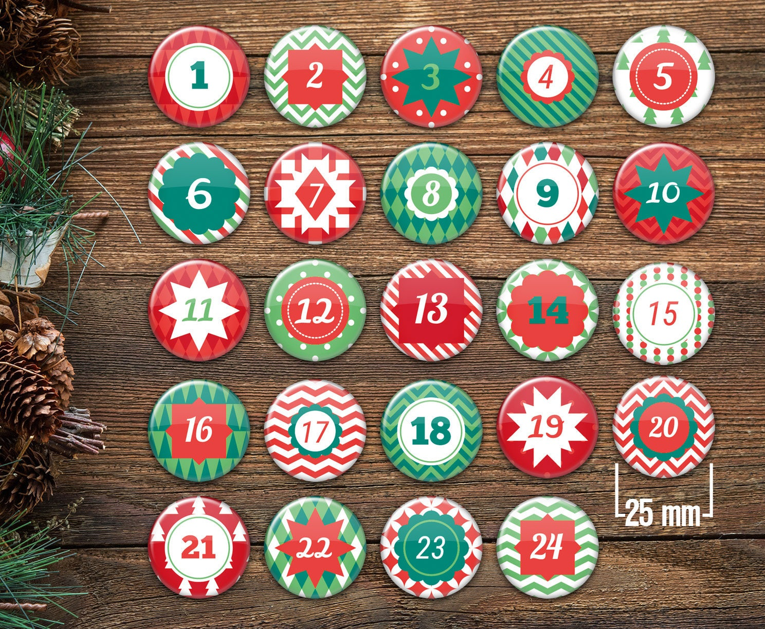 advent calendar numbers buttons for the diy set xmas2. Black Bedroom Furniture Sets. Home Design Ideas