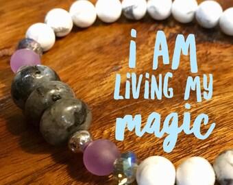 Personal Magic Bracelet. Calm Bracelet.  Labradorite Bracelet. Howlite Bracelet. Gift for Her.