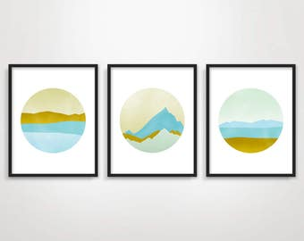 Set Of Prints Large Wall Art Set Of 3 Minimalist Art Minimalist Poster Scandinavian Art Nordic Art Abstract Art Landscapes Pastel Art