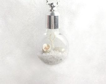 Winter White Terrarium Pendant Necklace, Cognac Vial, Glass Pendant, White Flower Necklace