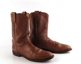 Brown Cowboy Boots Vintage 1980s Justin Roper Distressed Men's size 9 1/2