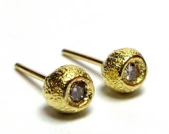 Gold Earrings - 18K Gold Studs Earrings - 18k Solid gold Earrings -  Diamonds Peas Earrings - Free Shipping!!