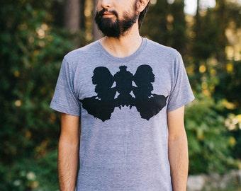 Wolf Animal Shirt, Outdoor Clothing Gift Tshirt Men, BLACKBIRDSUPPLY SALE, Rorschach Ink Blot Gray Mens Graphic Tee Apparel