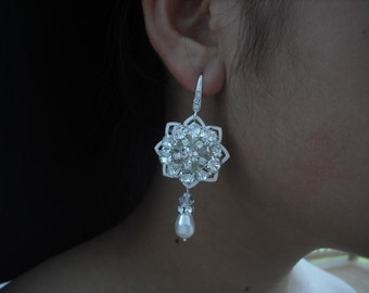 Victoria Collection, Long Bridal Earrings, Rhinestone Crystal earrings, Vintage Style Bridal Earrings, Weddng Jewelry