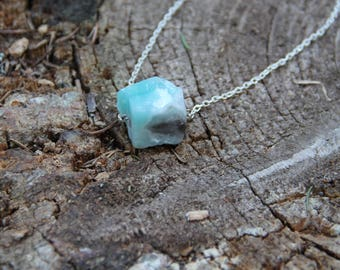 Amazonite necklace on a chain with raw crystal bead, heart throat chakra stone, healing jewelry CO45