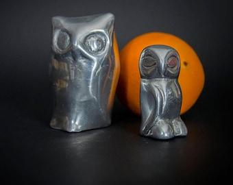 Vintage 1980's Mid Century Modern Design Aluminum Sculpture, Retro 90's Abstract Aluminum Owl Sculptures, Retro 90's Aluminum Sculptures