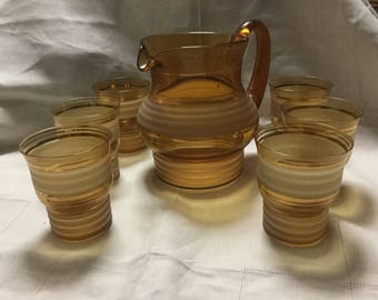 Amber glass jug and 6 glasses