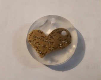 Engraved heart with silver leaf