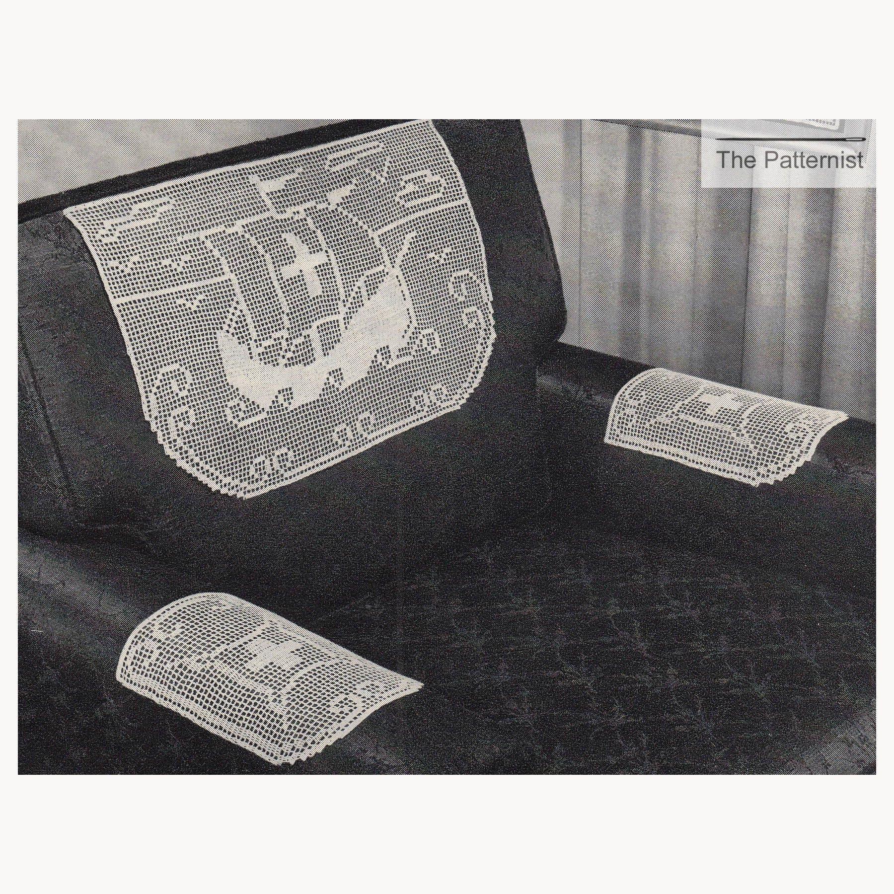 Vintage Chair Set Filet Crochet Pattern Nautical Tall Ship Boat ...