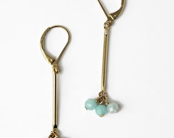 Amazonite gemstone beaded gold dangle earrings, 24k gold gilded earrings, Gold bar and natural stones earrings, Precious dainty jewelry