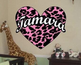 Leopard Spot Heart Decal w/ custom text Vinyl Wall Decal Sticker Art