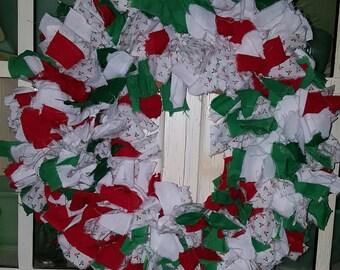 Rag Wreath-Holly print, red and green fabric-Christmas wreath. centerpiece, table decor, door decor, door wreath, wall decor, holiday decor