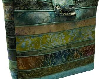 Large Batik Purse in Green Fabrics