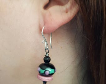 Lampwork Earrings, Black with Pink and Green Bumpy Dots