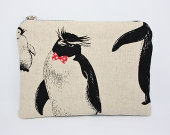 Wallet clutch in linen and cotton patterns penguins!