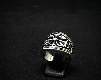 Mens Sterling Silver Ring Gothic