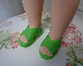 Green- Doll Sandals for 14 Inch Dolls- Fits Wellie Wishers  Dolls