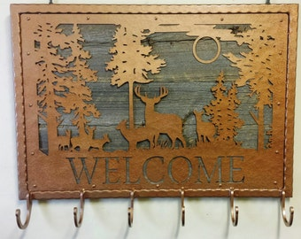 "Industrial Metal and Reclaimed Barn Wood ""WELCOME"" Coat Rack with Wildlife Deer Scene and Six Coat Hooks"