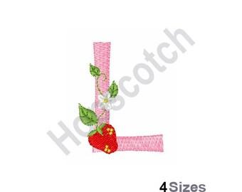Letter L - Machine Embroidery Design, Strawberry