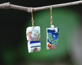Rustic Sea Porcelain Sherd Earrings Gold Filled Earrings Mismatched Earrings Colorful Earrings Asymmetric Earrings Free Shipping from Israel