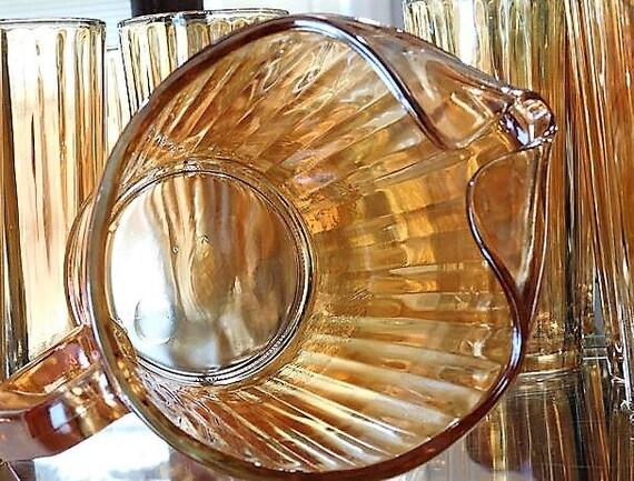 Jeanette Pitcher Set / Mid Century Iridescent Carnival Glass  /Pillar Optic / Floragold
