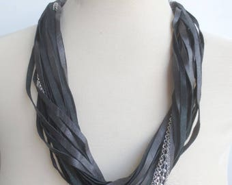 Black Leather Statement Necklace Leather Jewelry Silver Chains, Multi Strand Leather and Chain Necklace