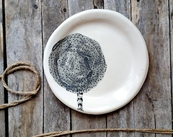 Wabisabi Tree Plate - Grey White Black