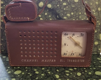 Vintage 1960s Channel Master Transistor Radio, With Original Case and Original Headphone
