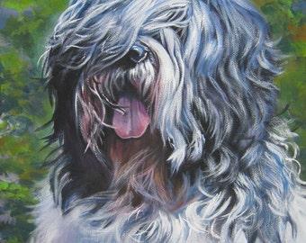 Polish Lowland Sheepdog dog art CANVAS print of LA Shepard painting 8x10