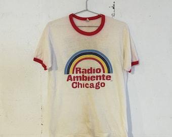 Vintage Radio Ambiente Chicago 105 FM WOJO Ringer T Shirt