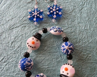 Blue And White Snowman Lampwork Glass Beaded Bracelet And Earring Set