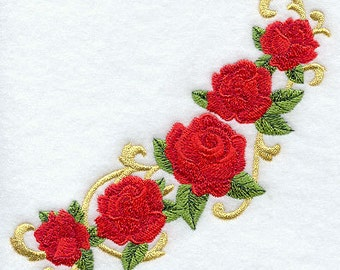 Victorian Rose Spray Embroidered Flour Sack Hand/Dish Towel