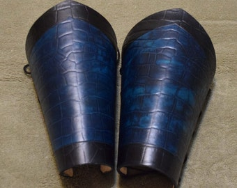 Blue and black leather dragon armor larp cosplay renaissance pirate
