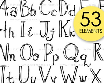 Alphabet Doodle Hand Drawn Clipart Uppercase And Lowercase Letter Font Lettering Illustrated PNG Instant Download Design By Nedti