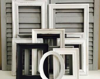 Black and White Picture Frame Collage; Distressed Picture Frames; Frame Collage Set; Picture Frame Set; Farmhouse Decor