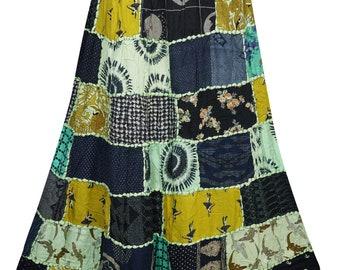 Swirl Long Maxi Patchwork Skirt Printed Rayon Handmade Indian Dori Skirts