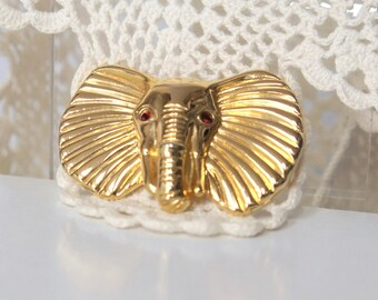 Elephant Pin Vintage Ruby Red Eyes Lucky Elephant Brooch Goldtone Exotic Pin African Unsigned