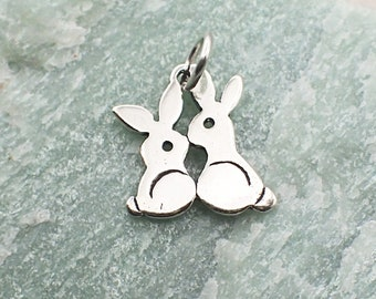 Sterling Silver Bunny Charm Pendant Kissing Rabbits Animal Easter Cottontail