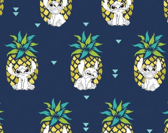 Lilo & Stitch Fabric, Pineapple Stitch, Disney Fabric, Licensed Fabric - Camelot 85240103 Navy - Priced by the half yard