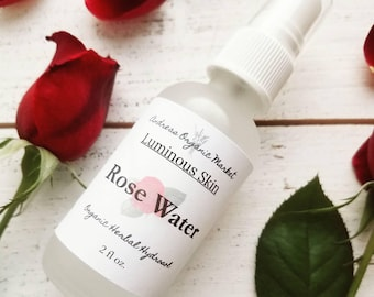 Organic Rose Water, Rose Hydrosol, Rose Toner, Organic Hydrosol, Organic Skin Care, Vegan Skin Care, Facial Care, Natural Skin Care