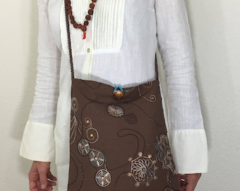 Brown Gypsy/ Boho/ Hippie/ Folk/ Peasant/ 100% Cotton/ Embroidered/ Crossbody/ Messenger Bag
